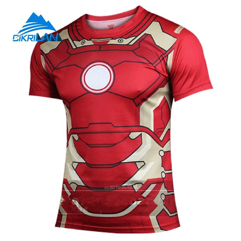 Hot Sale Summer Super Hero Outdoor Sport Trekking Tshirt Homme Bodybuilding Fitness Hiking Climbing T-shirt Men Gym Camisetas