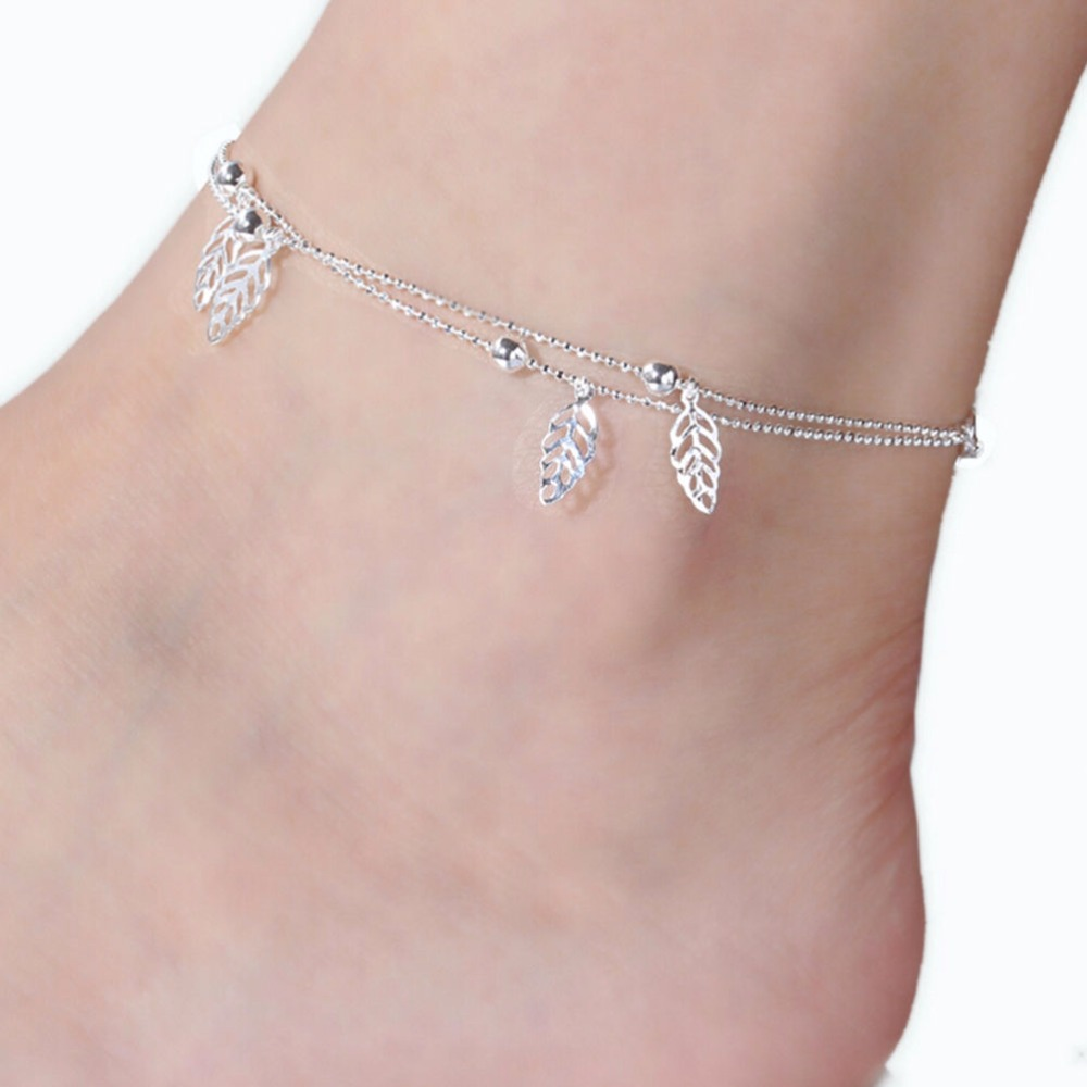 Anklets Jewelry Sets & More Purposeful 1pc Trend All-match Silver Color Women Elegant Double Chain Leaf Anklet Bracelet Sexy Barefoot Beach Foot For Girl Perfect Gift