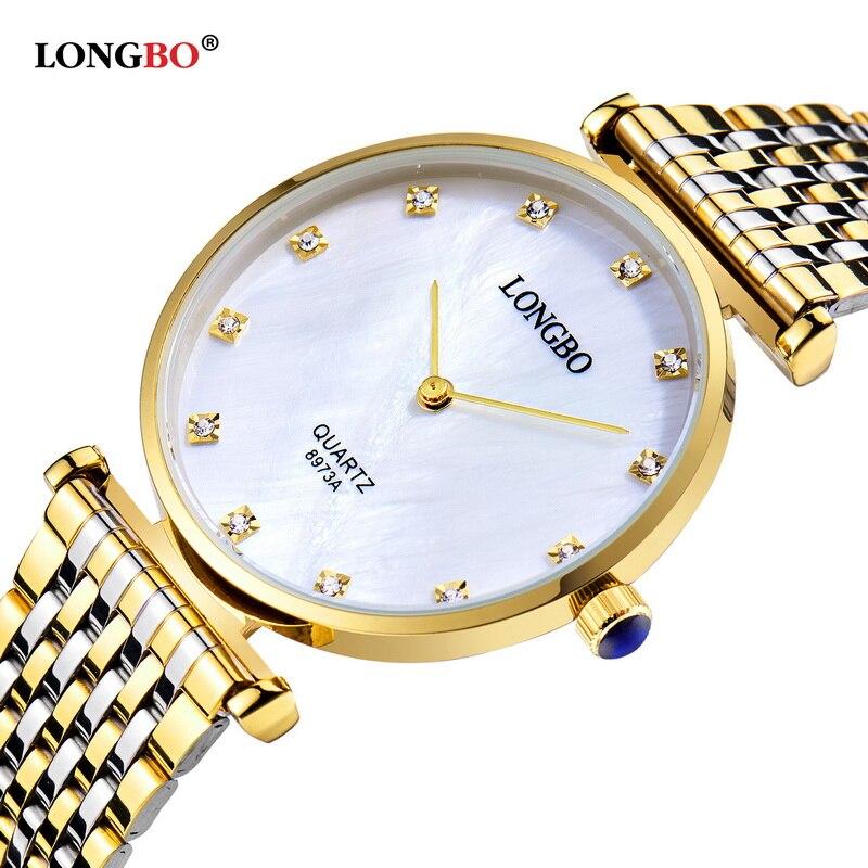 3becda2cd01 Marca LONGBO Relógios de Pulso de Quartzo Moda Relógios Das Mulheres de  Vestido Ocasional Senhoras De Ouro de Luxo Strass Saat reloje mujer À Prova  D  Água
