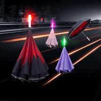 Changing Color Light up Warning on highway LED Reversible Umbrella Flashlight Handle Straight Umbrella Safe SOS Parasol