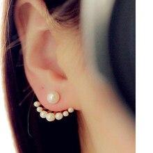 Fashion Women's Front & Back Earrings Post-hanging Earrings Simulated Pearl Statement Stud Earrings Ear Clips For Women Jewelry