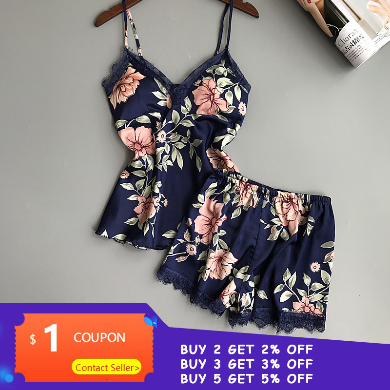 QWEEK salón dormir Conjunto de pijama de satén Sexy ropa de dormir de las mujeres de pijama de verano de mujer de flores de moda pijamas para mujeres con almohadilla para el pecho