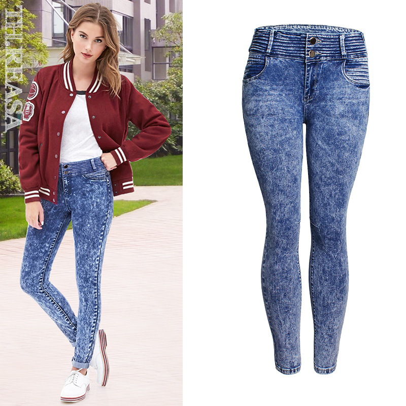 Autumn spring  Fashion Skinny Jeans Woman Autumn New Pencil Jeans Fashion Snow Wash Blue Jeans High Waist Denim Pants For women inc international concepts petite new diva wash skinny leg jeans 6p $69 5