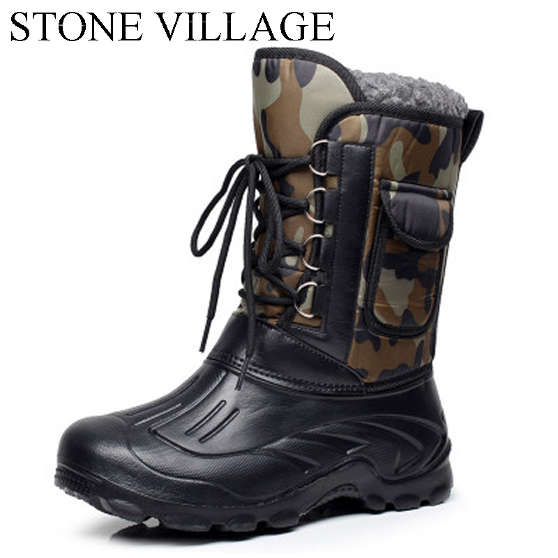 Outdoor New Men In Tube Snow Boots Waterproof Non Slip Comfortable Cotton Tooling Boots Warm Shoes
