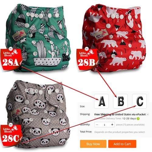 [Littles& Bloomz] Детские Моющиеся Многоразовые Тканевые карманные подгузники, выберите A1/B1/C1 из фото, только подгузники/подгузники(без вставки - Цвет: 28