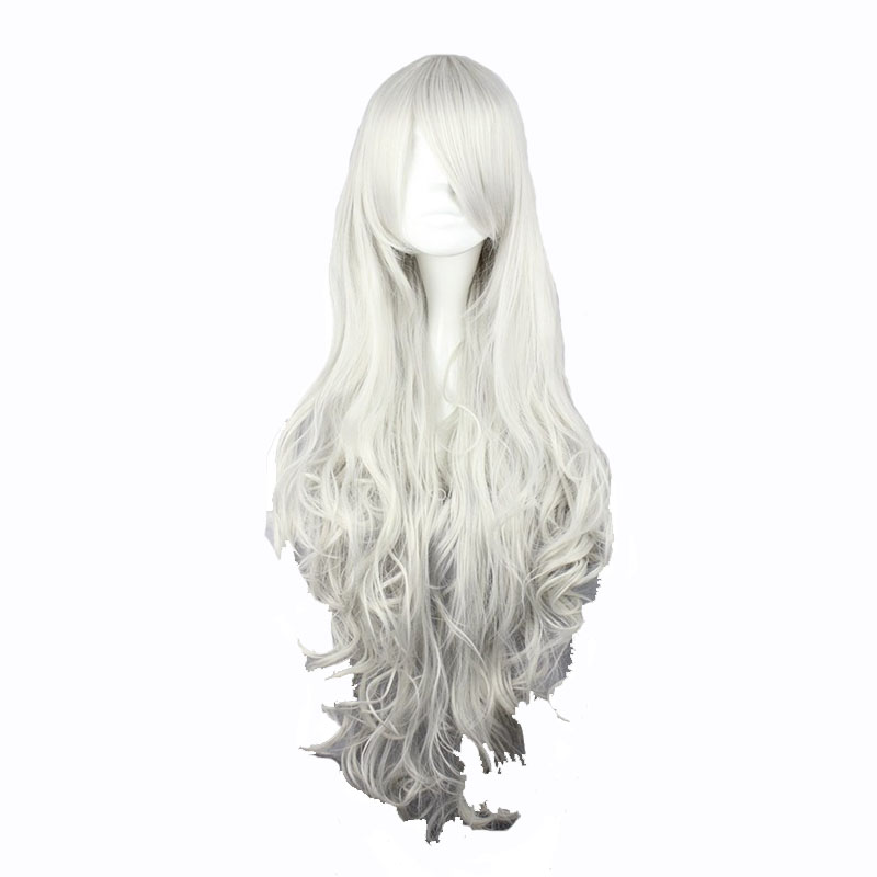 MCOSER Free Shipping 90cm Synthetic Long Wavy Silvery White Cosplay Costume Wig 100% High Temperature Fiber Hair WIG-207E