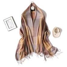 Women  Tassel grid scarves with tassel lady spring autumn thin long scarf high quality female shawl hot sale Men and women