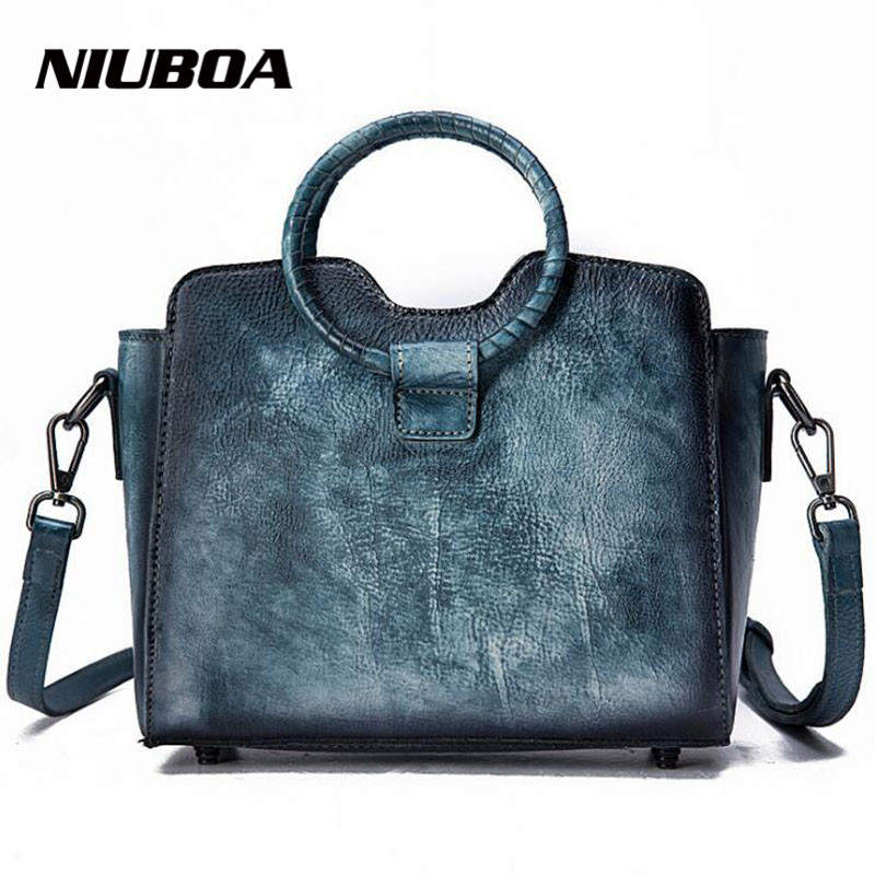 NIUBOA Bag Female Women's 100% Genuine Leather Bag Handle Handbag Crossbody Women Shoulder Bags Real Leather bolsa feminina Tote niuboa bag female women s 100