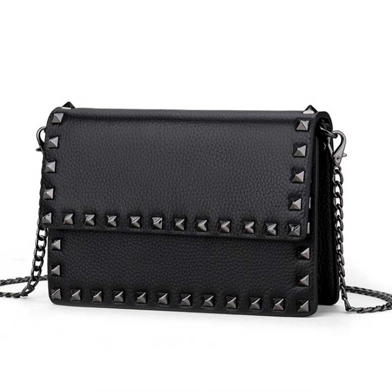 Crossbody Bag Woman Genuine Leather ita Bag Small Rivet Messenger Bag Women  Sacoche Homme Sac femme 2018 obag Classic Shanel-in Top-Handle Bags from