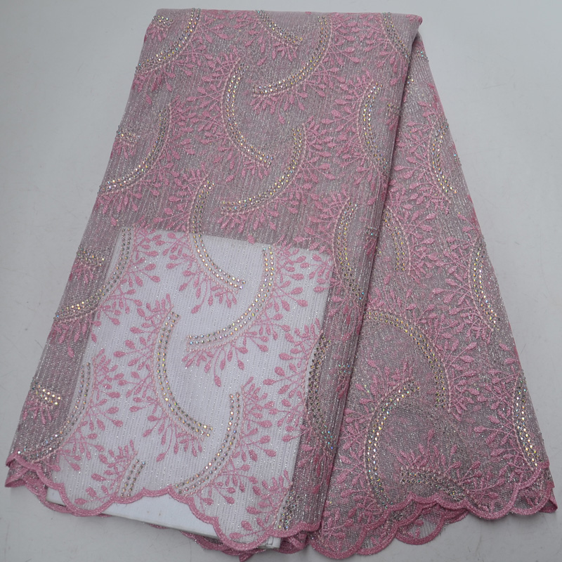 Free shipping 5yards pc high grade French net lace fabric delicate embroidered African wedding party lace