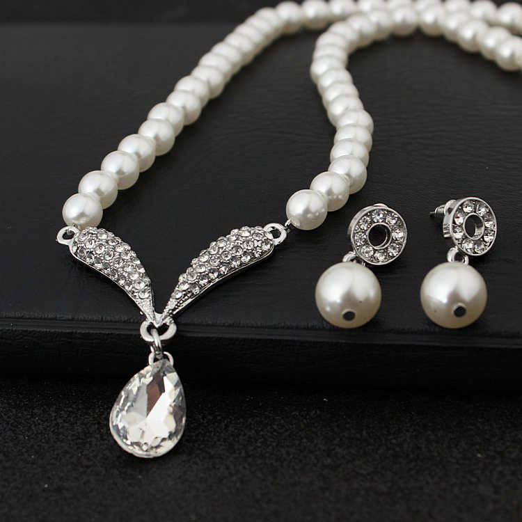 Women's Hot Sale Fashion New Pearl Beaded Necklace And Drop Earring For Women Water Drop Crystal Set Bridal Wedding Jewelry Sets