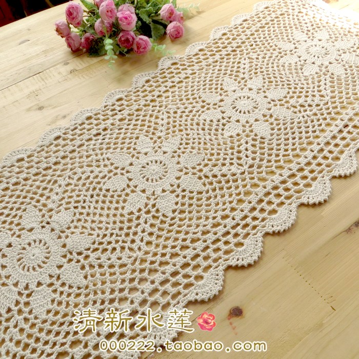 Free shipping cotton crochet beige 3D table cloth flower dining ...