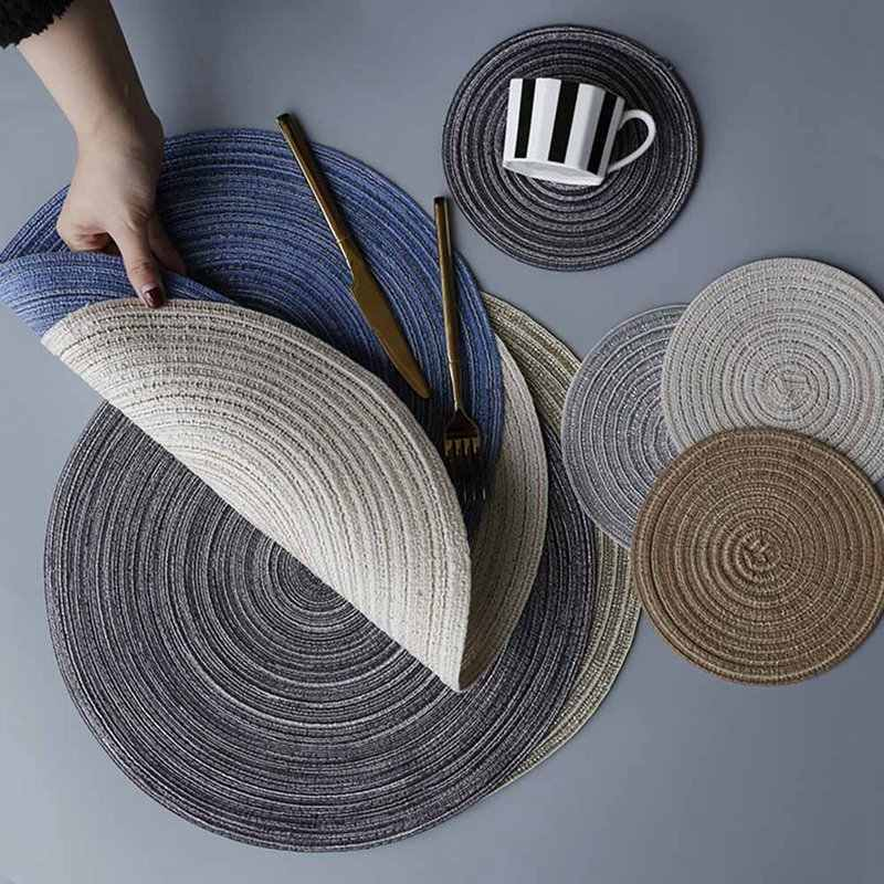 Round Design Table Ramie Insulation Pad Solid Placemats Linen Non Slip Table Mat Kitchen Accessories Decoration Home Pad Couster