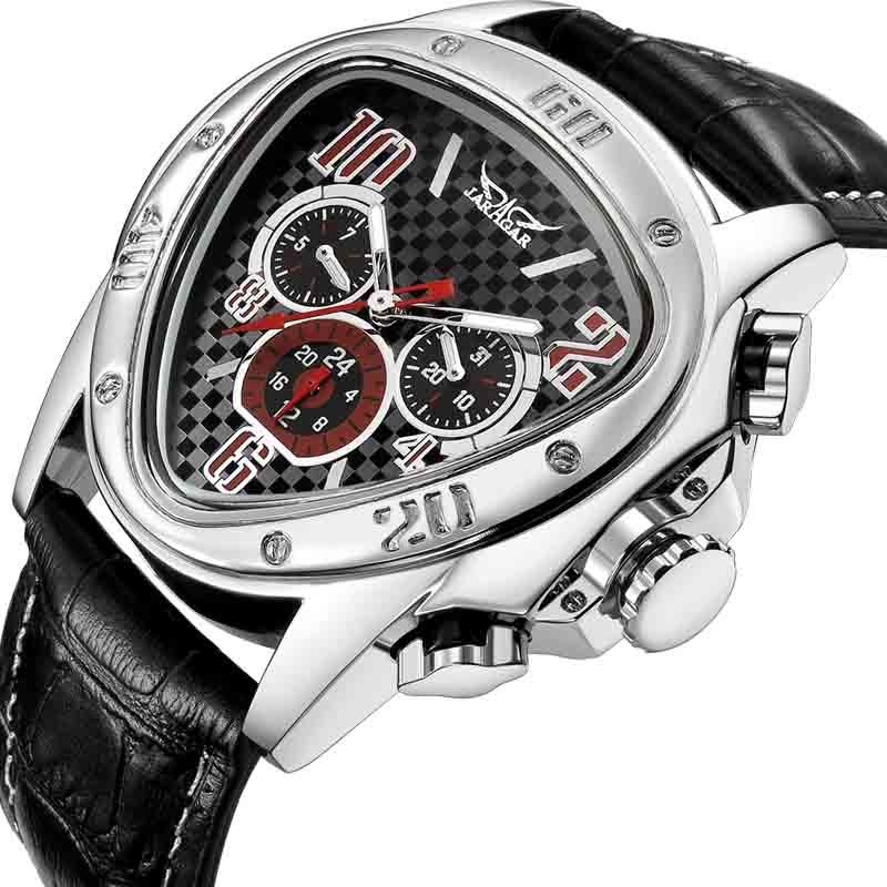 Top Brand Sport Racing Design Geometric Triangle Design Genuine Leather Strap Men Watches Top Brand Luxury Automatic Wrist Watch top design женские платья для полных