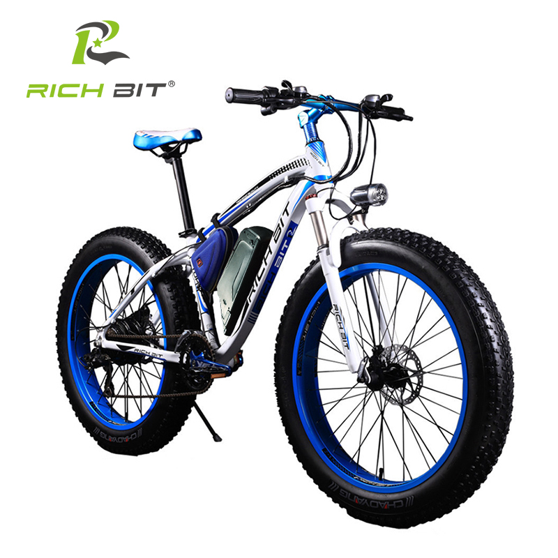 RichBit New Super Ebike Leistungsstarkes Elektro-Snowbike 21-Gang Ebike 48V 1000W Elektro-Fat Tire-Bike mit 17AH Lithium-Batterie
