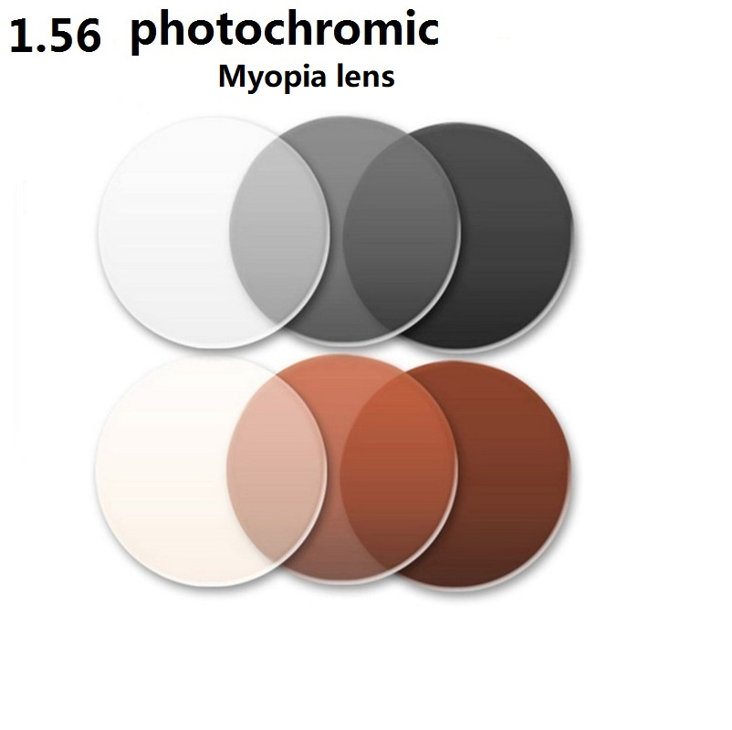1.56 Aspheric photochromic brown gray brand myopia eyglasses lenses color film wear-resistant coated Anti-planning resin lenses