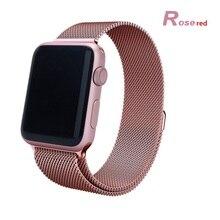 42mm 38mm milanese enlace pulsera de acero inoxidable reloj de correas de reloj de correa de hebilla magnética pulsera para apple watch