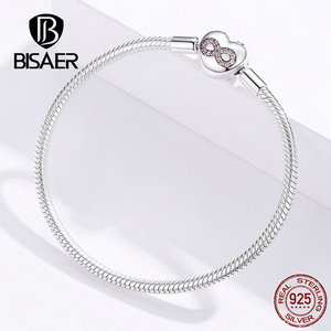 Image 5 - BISAER 925 Sterling Silver Heart Shape Clasp Infinity Love Infinite Femme Silver Bracelets for Women Jewelry Pulseira ECB142