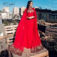 PEORCHID красные и золотые турецкие вечерние платья с накидкой Ближний Восток Robe De Soiree Musulman Арабский Кафтан формальный вечерние платья