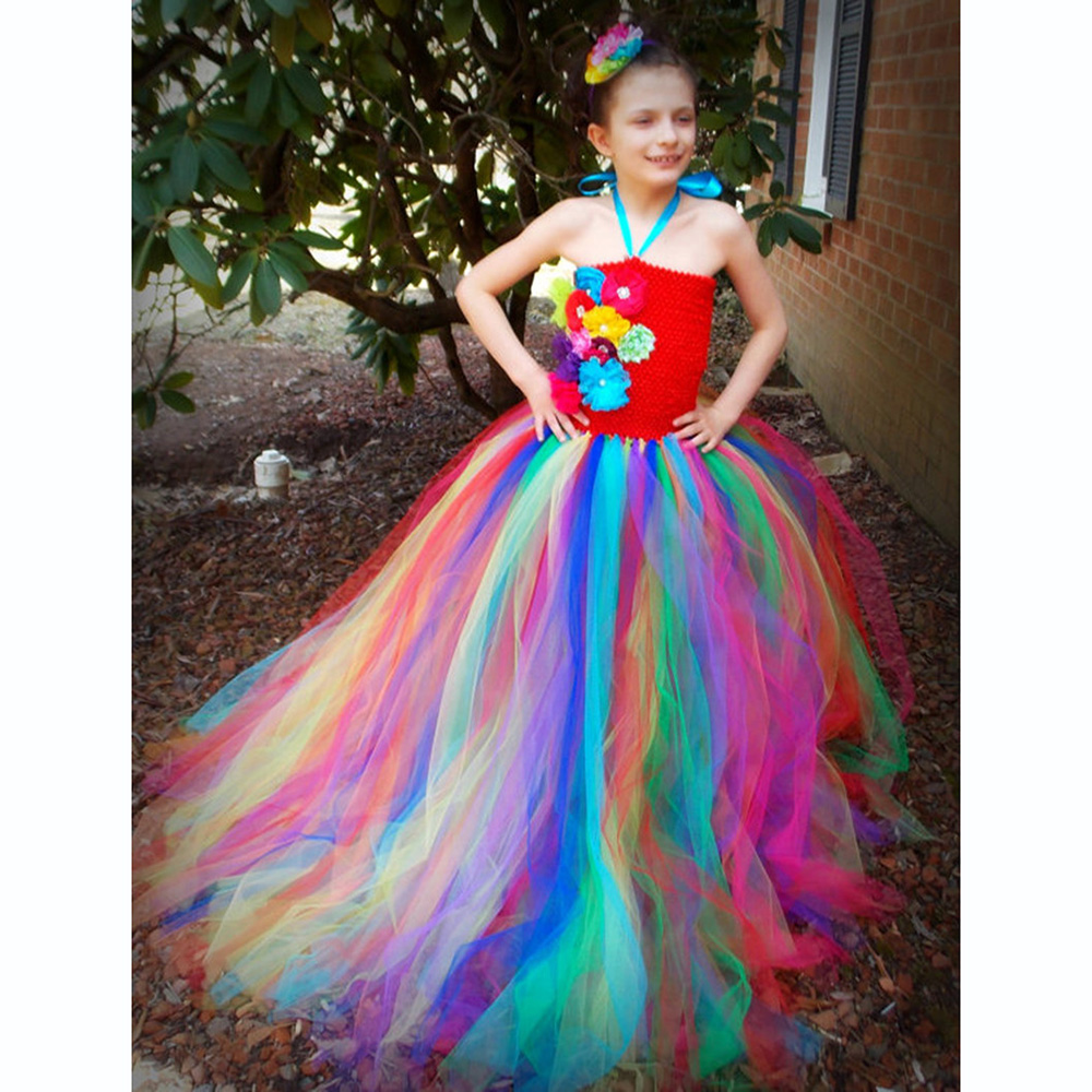 Bright Rainbow Flower Girls Formal Wear Prom Dress Children Ankle Length Flower Princess Dresses Girls Vestido De Festa Longo in Dresses from Mother Kids
