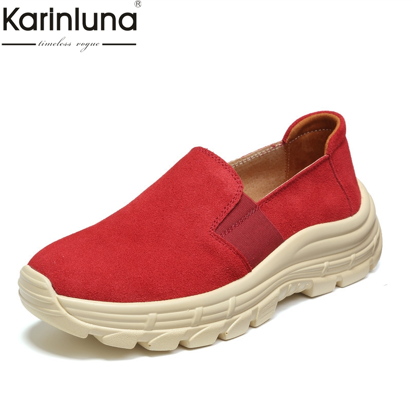 Fashion women shoes Brand Loafers Split Leather Flat Platform Shoes Woman Casual Party comfortable sneakers Spring Flats Female