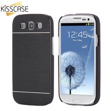 KISSCASE Brush Metal Case For Samsung Galaxy S3 Hard Aluminum Back Cover PC Plastic Frame Cases For Galaxy S3 S4 S5 Mini S7 Edge