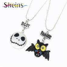 BFF Cartoon Halloween Party Jewelry 2pcs/Set Best Friends Charms Skull Mask Bat Devil Pendants friendship Kids Necklace Set