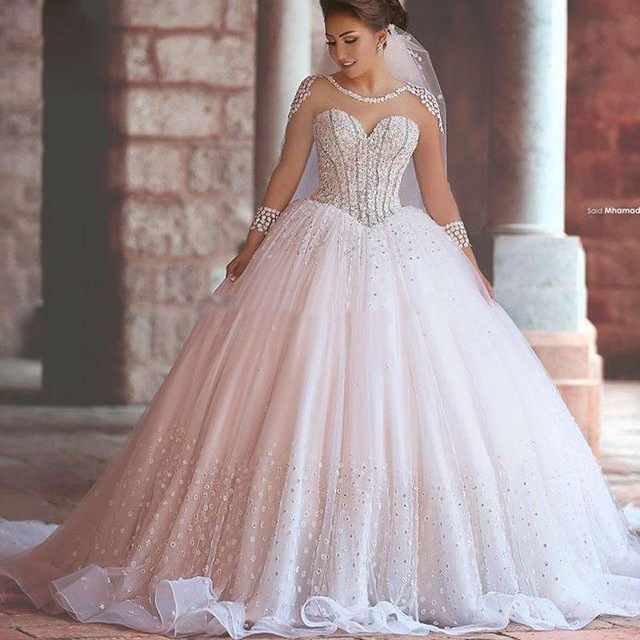 Ball Gown Long Sleeve Beaded Crystal Applique Watteau: Luxury Romantic Sheer Long Sleeves Wedding Dress 2016 Ball