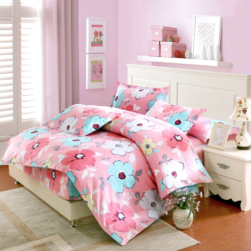 Pink flowers bedding set twin full queen king size fitted sheet bedsheet duvet cover pillowcases 4pcs set cotton Home textilePink flowers bedding set twin full queen king size fitted sheet bedsheet duvet cover pillowcases 4pcs set cotton Home textile