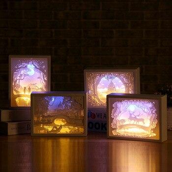 цена 3D Paper Carving Night Lights LED Table Lamp Bedroom Bedside Night Lights Christmas Halloween Carved Decor Lamp Birthday Gifts онлайн в 2017 году
