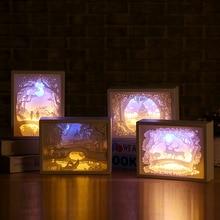 3D Paper Carving lampki nocne lampa stołowa led sypialnia lampki nocne nocne boże narodzenie Halloween rzeźbiona lampa dekoracyjna urodziny prezenty