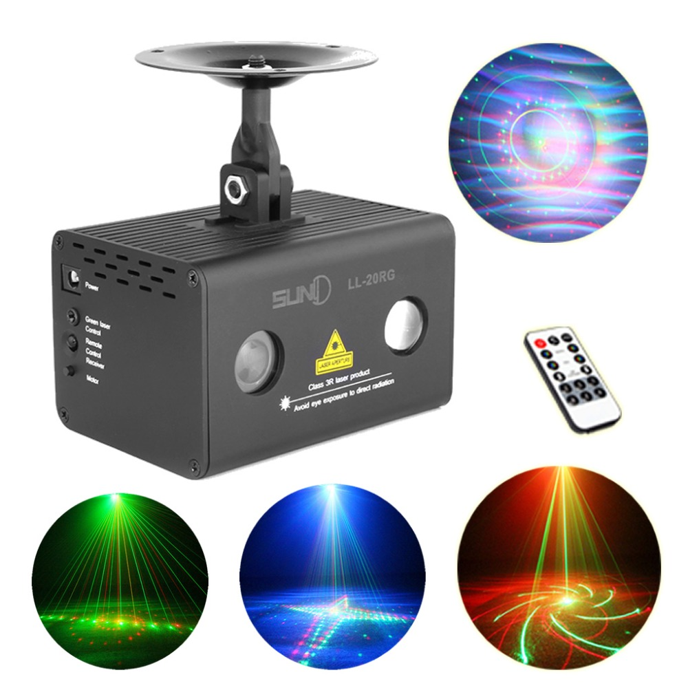 AUCD Remote 20 Patterns RG Laser Xmas Water Galaxy RGB LED Stage Light Projector AUTO Sound Party DJ Show Home Lighting LL-20RG
