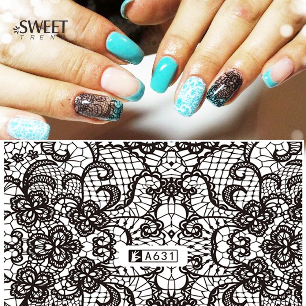 Stickers decals nail stickers nail art decals fashion - 1 Sheets Lace Flower Pattern Nail Art Stickers Black Lace Full Wraps Water Transfer Nail Decals Fashion Manicure Tools Laa631