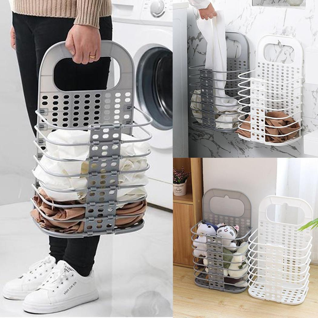 Household Collapsible Storage Basket Bathroom Clothes Wall-mounted Home Gray, White Hamper