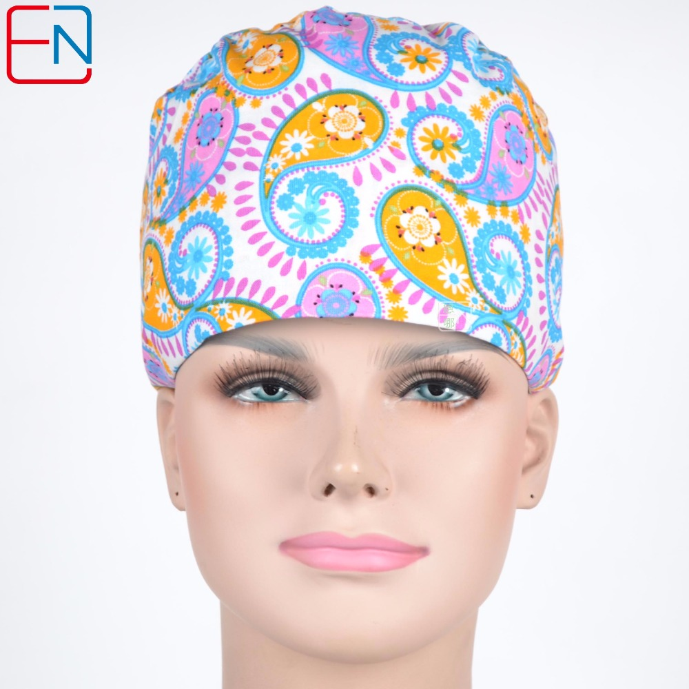 Hennar Surgical Caps Women Medical Scrub Caps Nurse Work Hat Tieback Adjustable Breathable Medical Scrub Cap Multicolor Hot Sale