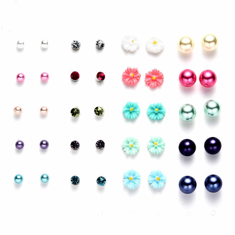 LUXSHINE 50 Pairs/lot Simulated Pearl Stud Earring Set for Girls Cute Resin Flowers Bear Mixed Ear Studs Wholesale Kids Jewelry