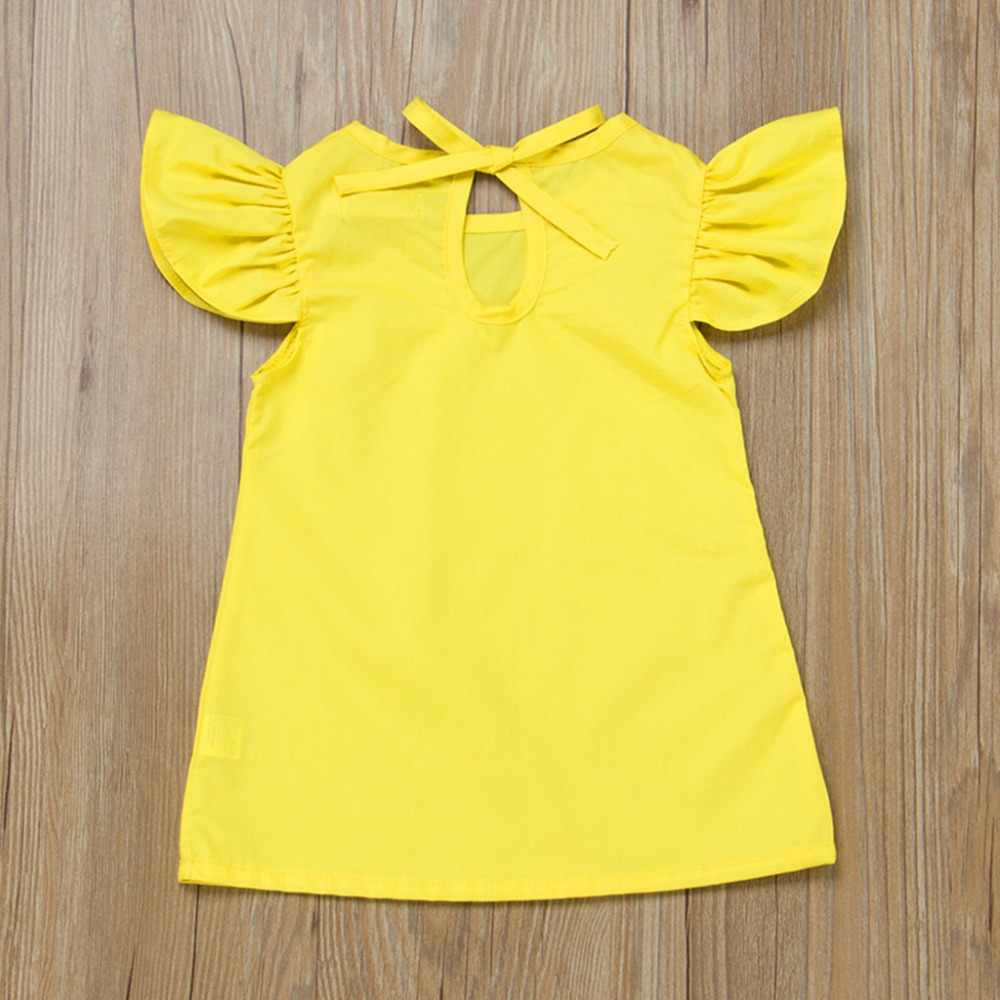 夏幼児女の赤ちゃんフライスリーブ固体弓ドレス服ドレス女の子ローブベベ Fille 女の子ドロップシッピング Mar21