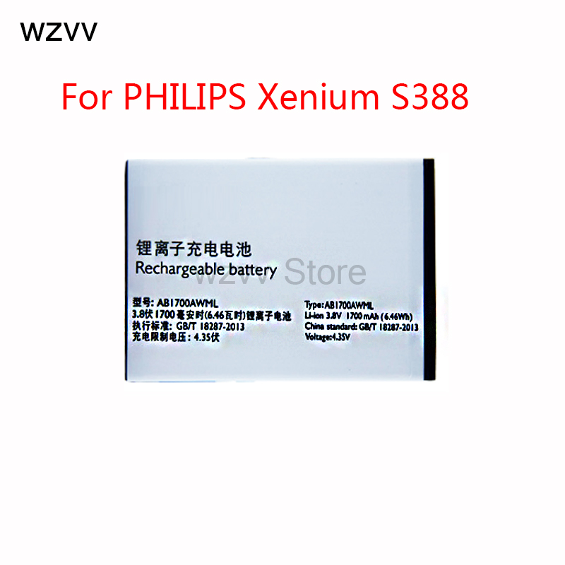 wzvv High Quality NEW 1700mAh Replacement Li-ion Battery AB1700AWML For PHILIPS Xenium S388 Smartphone + Tracking Code