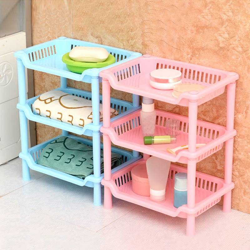 HearTogether Brand Multi-function Storage Rack 3 Layers Plastic Corner Cabinet Debris Organizer for Kitchen Bathroom