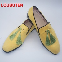 Loubuten 2019 Handmade Yellow Men Velvet Shoes With Tassels Fashion Wedding And Party Men Loafers Italian Style Smoking Slippers