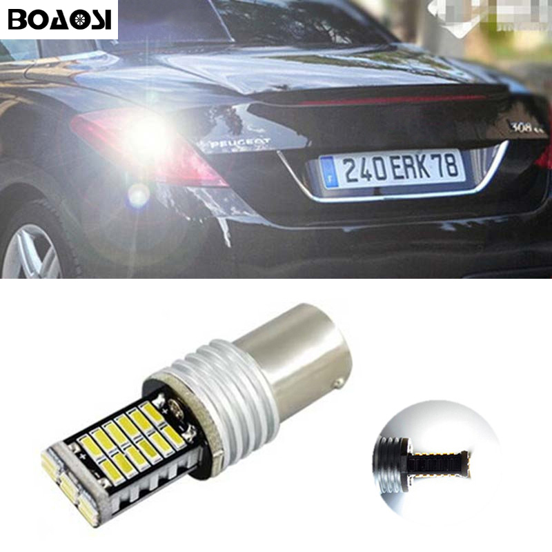 BOAOSI 1x 1156 P21W Led Canbus 30SMD Backup Reverse Light For peugeot 307 206 2008 207 308 4008 508 5008 for 301 2014 error free ba9s socket 360 degrees projector lens led backup reverse light r5 chips replacement bulb for peugeot 3008
