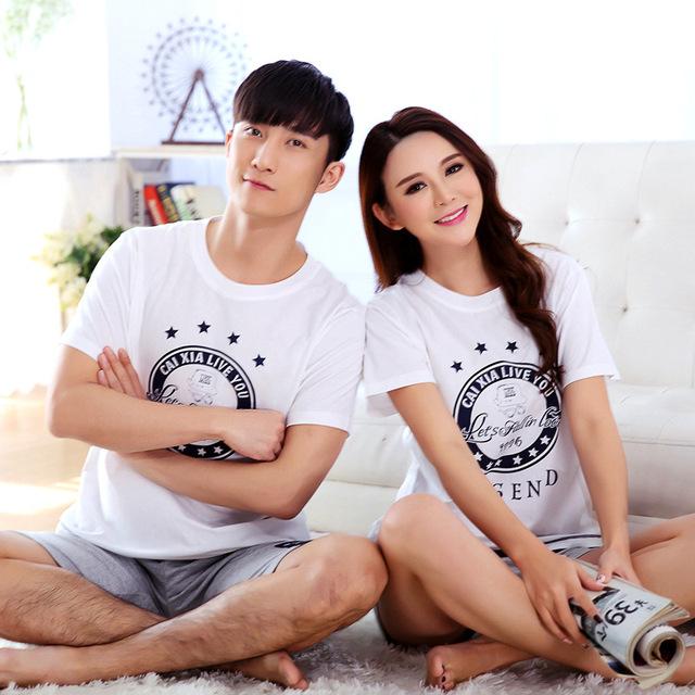 2016 amantes del verano de manga corta de algodón homewear dos piezas de un conjunto pijamas para pareja