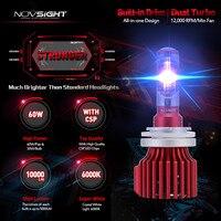 2 Pcs Novsight H15 LED Car Bulb CSP Hi Lo Beam Headlights 60w 10000lm A Pair
