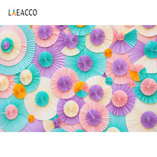 Laeacco Cute Colorful Paper Flowers Wall Photography Backgrounds Vinyl Customs Camera Photographic Backdrops For Photo Studio