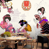 Free Shipping Japanese Geisha Sumo Ladies Wallpaper Japanese Food Sushi Restaurant Hotel Mural Wallpaper Hot Pot