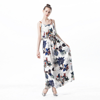 Bohemia Ruffle Ankle Length Cotton Dress Ladies Printed Loose Dark Blue White Female Dress Spaghetti Strap