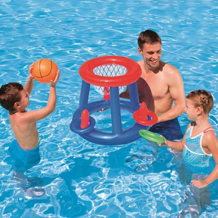 Crianças inflável flutuante basquete aro anel jogar