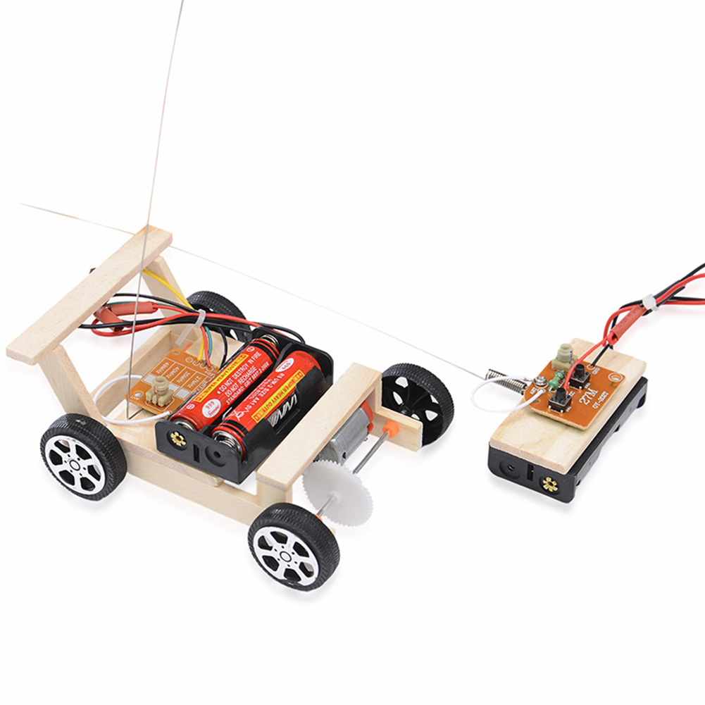 Kids Physics Science RC Car Set Wooden Vehicle Educational Experiment Model Children DIY Assemble Gift Toy Wireless Control