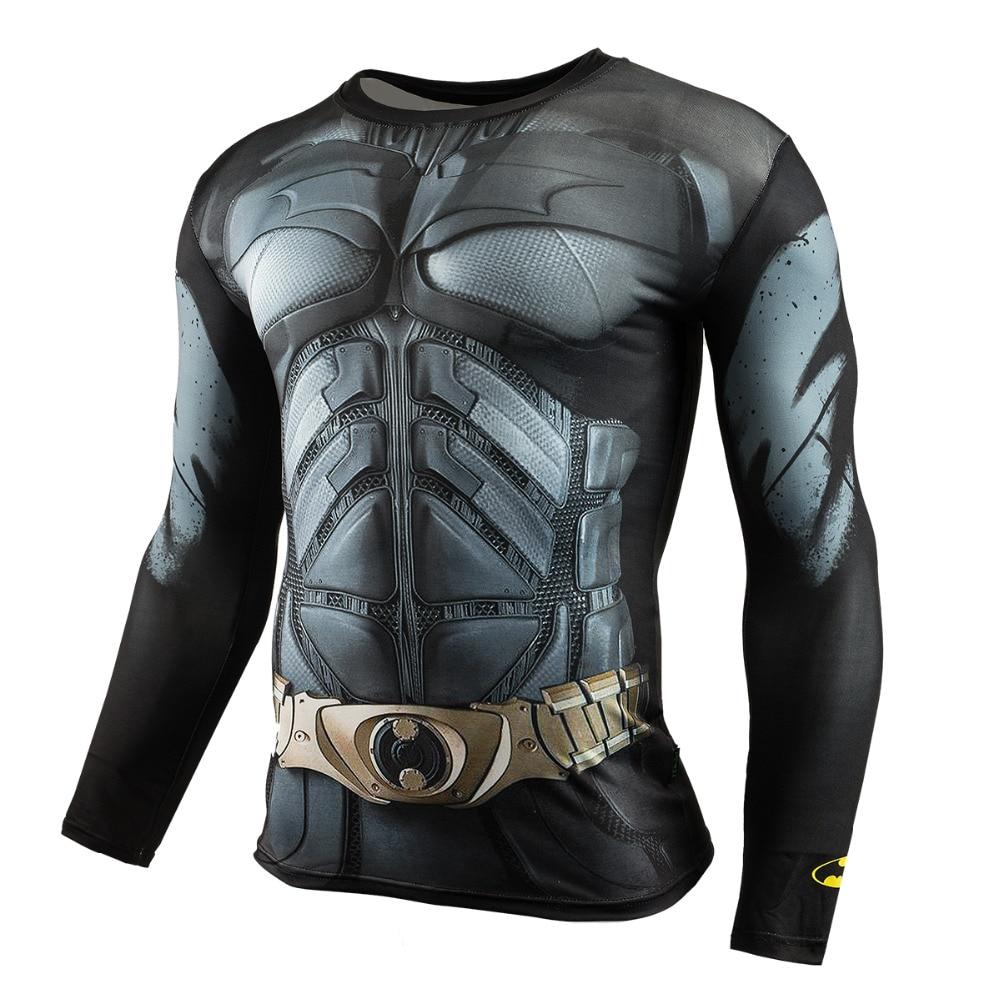 Homens Crossfit Camisa De Manga Longa De Compressão 3D Anime Herói Superman Capitão América T Shirt Calças Justas da Aptidão Dos Homens Partes Superiores & T