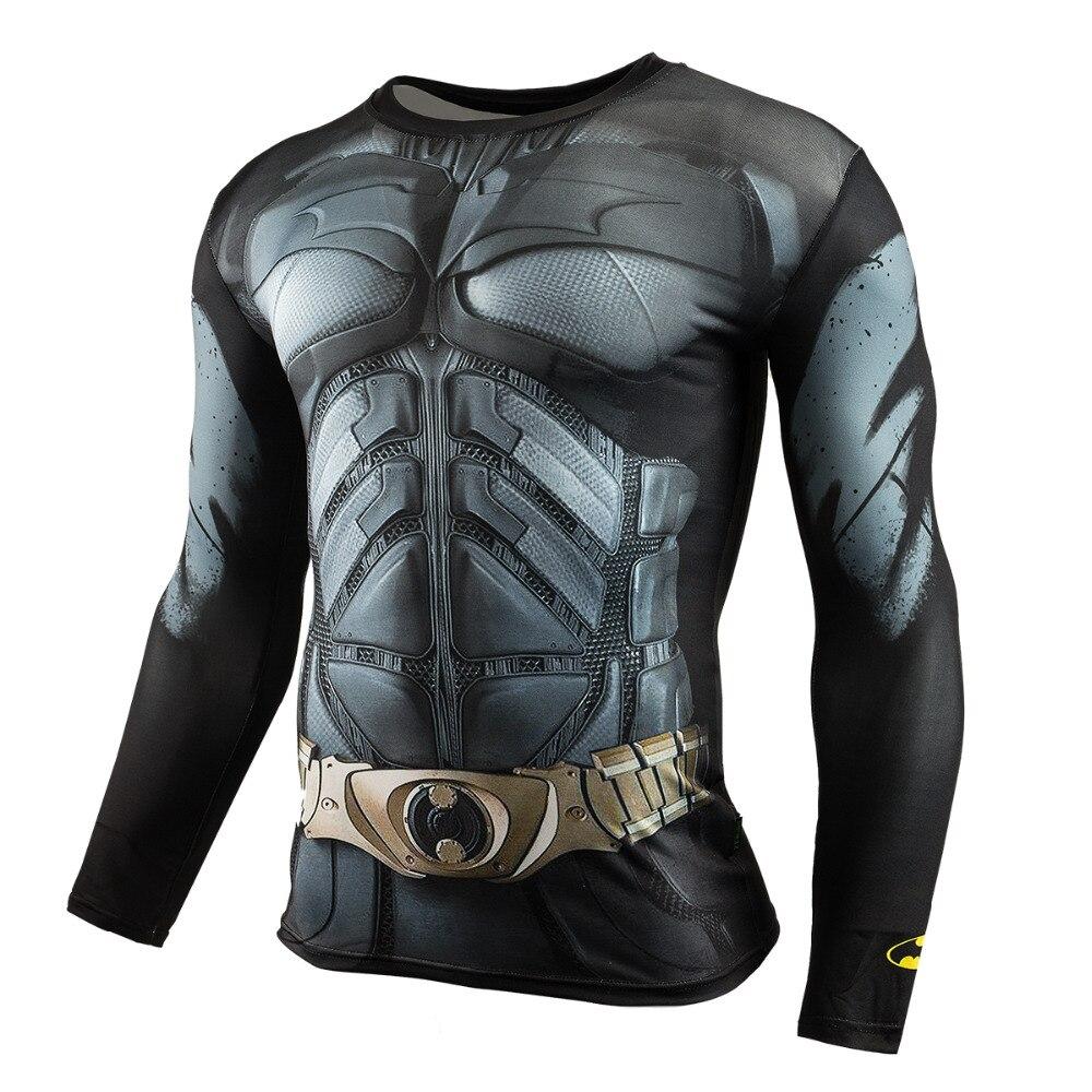 Los hombres Crossfit de manga larga Camiseta de compresión 3D Anime superhéroe Superman Capitán América T camisa medias aptitud de los hombres camisetas y Tops